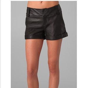 Alice + Olivia Leather Cady Cuffed Shorts 0
